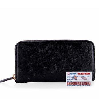 Bóp da đà điểu 1 khóa Vip đen HG3429