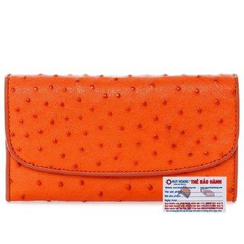 Bóp da đà điểu 3 gấp màu đỏ cam HG3408