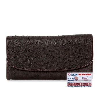 Bóp da đà điểu 3 gấp màu nâu đất HG3406