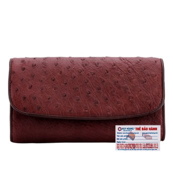 Bóp da đà điểu 3 gấp màu nâu đỏ HG3403
