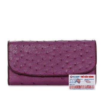 Bóp da đà điểu 3 gấp màu tím HG3407