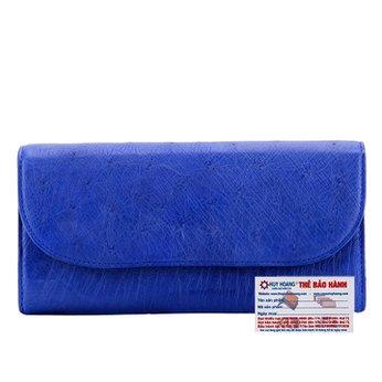 Bóp da đà điểu 3 gấp màu xanh dương HG3402