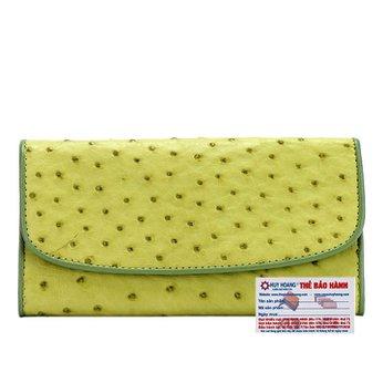 Bóp da đà điểu 3 gấp màu xanh lá cây HG3411
