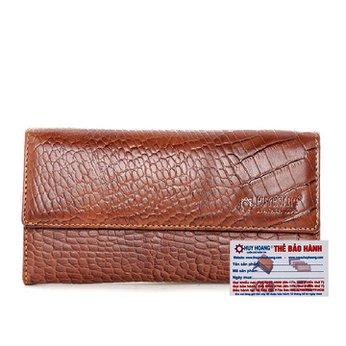 Bóp da nữ vân cá sấu nhỏ 3 gấp lửng màu nâu HG3150