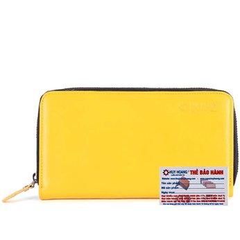 Bóp nữ da bò 1 khóa màu vàng HG3157
