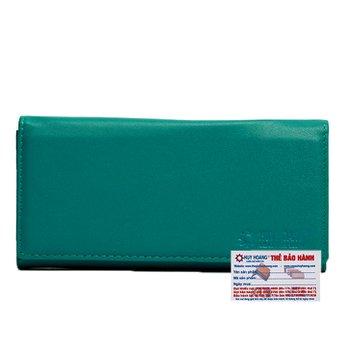 Bóp nữ da bò 2 gấp màu xanh lá HG3166
