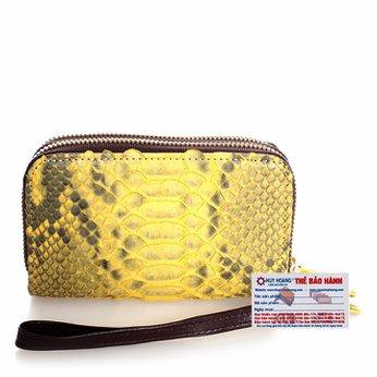 Bóp nữ da trăn 2 khóa màu vàng HG3312