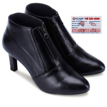 Giày bốt nữ Huy Hoàng có dây kéo màu đen HG7037