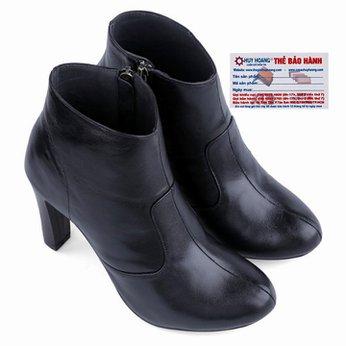 Giày bốt nữ Huy hoàng da bò màu đen HG7036