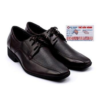 Giày da nam Huy Hoàng da bò màu nâu đỏ HG7112