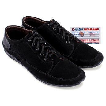 Giày mọi Huy Hoàng da lộn cột dây màu đen HG7197