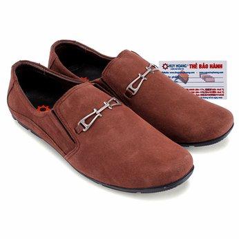 Giày mọi Huy Hoàng da lộn phối kim loại màu nâu HG7198