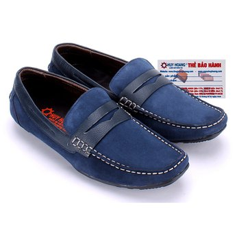 Giày mọi Huy Hoàng da lộn viền mũi màu xanh đen HG7199