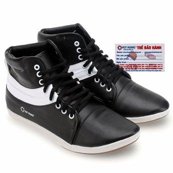 Giày nam Huy Hoàng cổ cao màu đen phối trắng HG7755