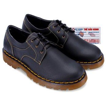 Giày nam Huy Hoàng cột dây viền chỉ màu đen HG7118