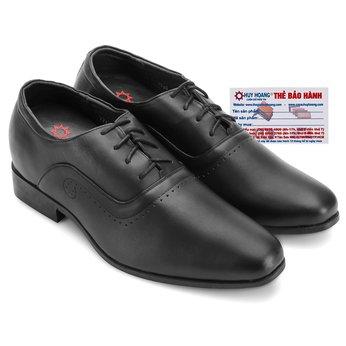Giày nam tăng chiều cao Huy Hoàng cột dây màu đen HG7723