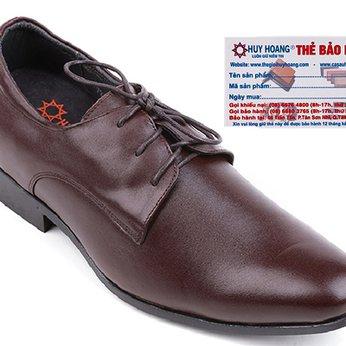 Giày nam tăng chiều cao Huy Hoàng cột dây màu nâu HG7716
