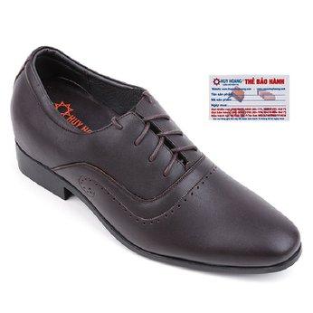 Giày nam tăng chiều cao Huy Hoàng cột dây màu nâu HG7719