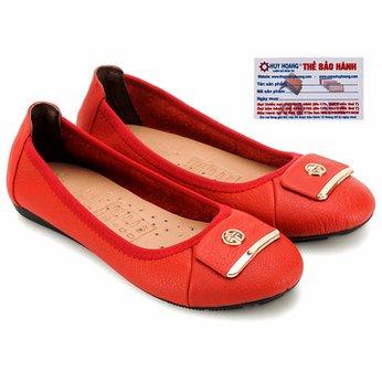 Giày nữ búp bê Huy Hoàng da bò màu cam HG7910