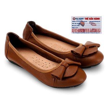 Giày nữ búp bê Huy Hoàng da bò màu da HG7905