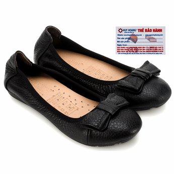 Giày nữ búp bê Huy Hoàng da bò màu đen HG7906