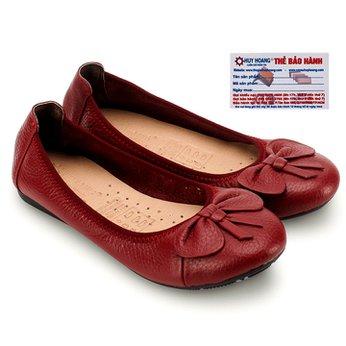 Giày nữ búp bê Huy Hoàng da bò màu đỏ đô HG7909