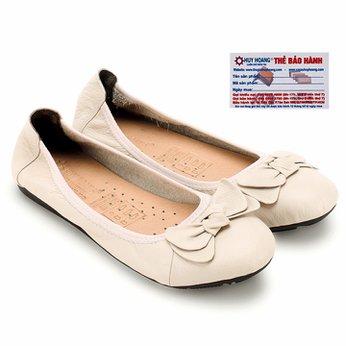 Giày nữ búp bê Huy Hoàng da bò màu kem HG7914