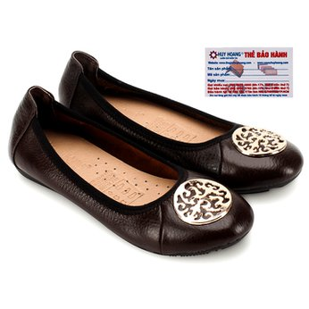 Giày nữ búp bê Huy Hoàng da bò màu nâu đất HG7907