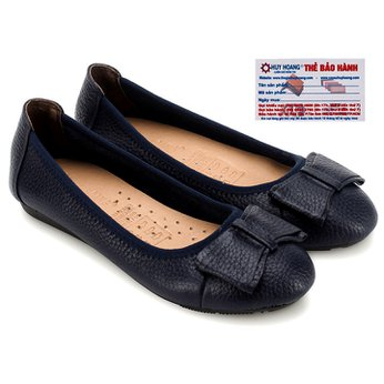 Giày nữ búp bê Huy Hoàng da bò màu xanh đen HG7908