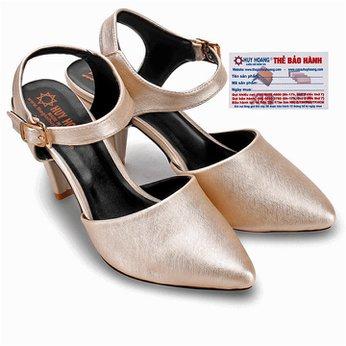Giày nữ Huy Hoàng cột dây hở gót màu kem HG7096