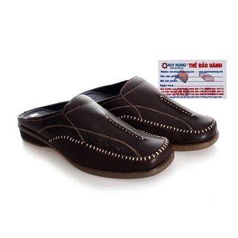 Giày sabo nam Huy Hoàng da bò màu nâu đậm HG7125