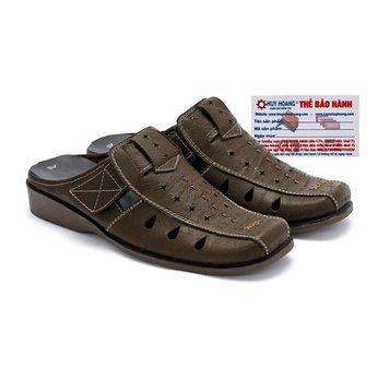 Giày sabo nam Huy Hoàng da bò màu rêu HG7126