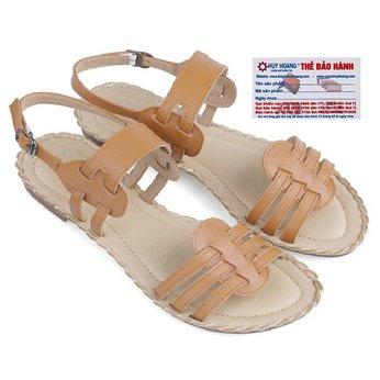 Giày sandal Huy Hoàng đế thấp màu bò HG7030