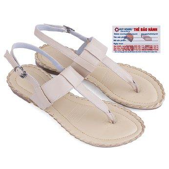 Giày sandal Huy Hoàng đế thấp màu kem - HG7027