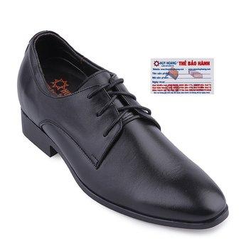 Giày tăng chiều cao Huy Hoàng mũi nhọn cột dây màu đen HG7189