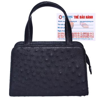 Túi xách nữ Huy Hoàng da đà điểu cỡ nhỏ màu đen HG6463