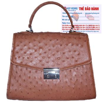 Túi hộp đeo chéo nữ Huy Hoàng da đà điểu màu nâu đỏ HG6460