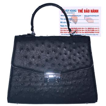 Túi hộp đeo chéo nữ Huy Hoàng da đà điểu màu đen HG6457