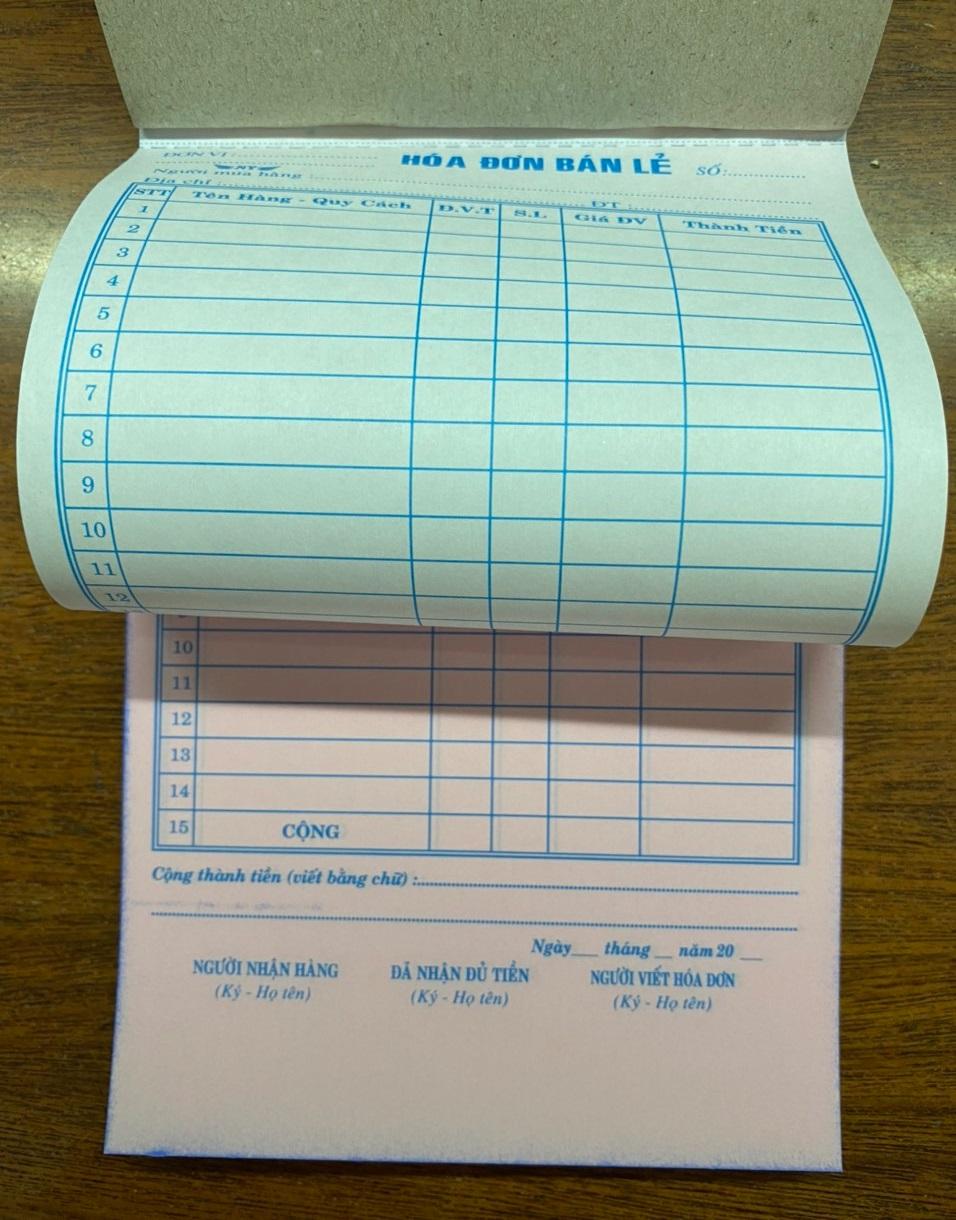 Hóa đơn bán lẻ 2 liên 13x19 (100 tờ) - 50 bộ