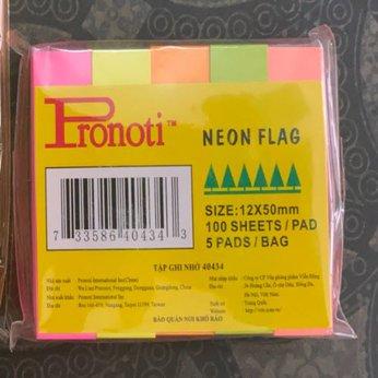 Giấy note Pronoti 5 màu dạ quang (12mmx50mm)-100 sheet/pad (Tập ghi nhớ 40434)