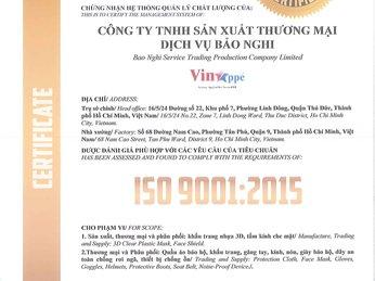 CÔNG BỐ ĐẠT CHỨNG NHẬN ISO 9001:2015