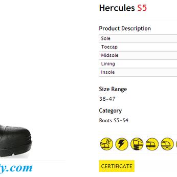 Ủng nhựa bảo hộ lao động Jogger Hercules S5