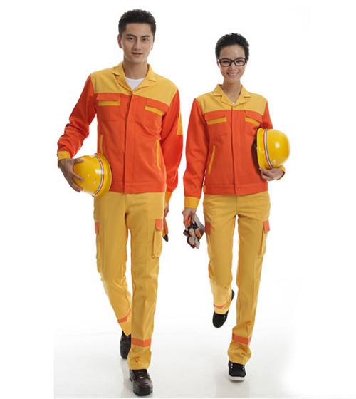 Quần áo bảo hộ KaKi phối màu cam vàng (hàng đặt may)