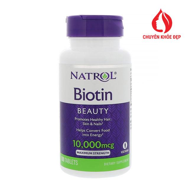 Viên uống mọc tóc Natrol Biotin 10.000mcg