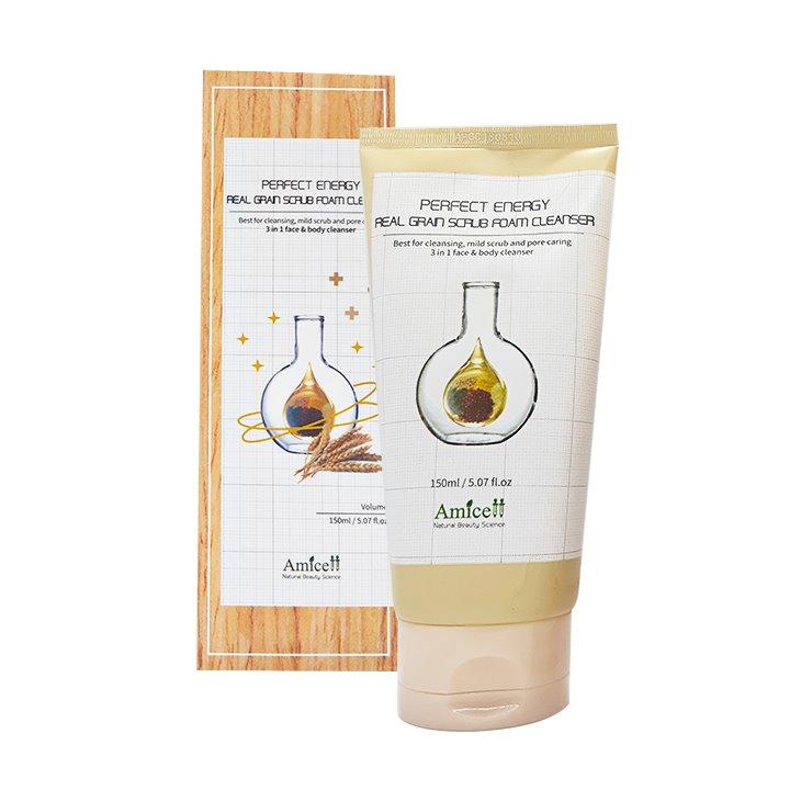 Sữa rửa mặt cung cấp độ ẩm Real Grain Scrub Foam Cleanser Amicell