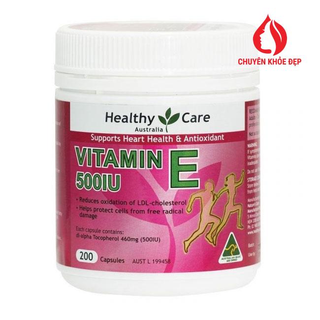 Viên uống bổ tim và chống lão hóa Healthy Care Vitamin E 500IU 200 viên của Úc