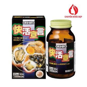 Tinh chất hàu tươi, tỏi, nghệ Orihiro thải độc gan - bổ dương 180 viên