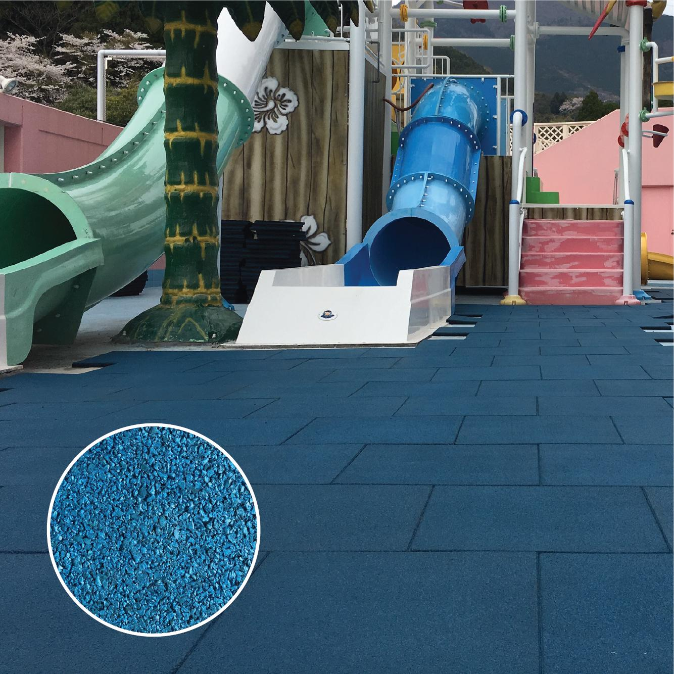 Blue recycled rubber mat for hom gym project