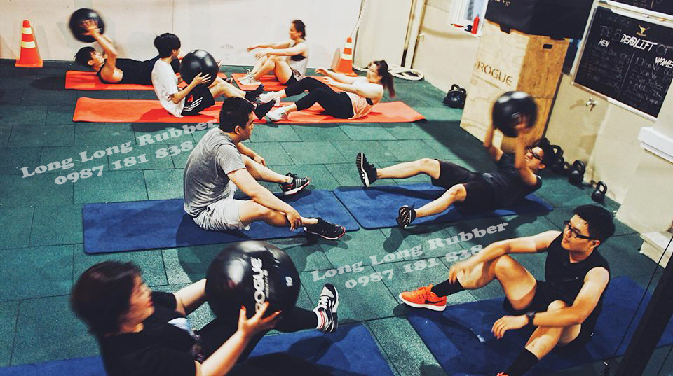 rubber safety flooring for gym and fitness in Cambodia
