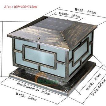 Đèn trụ cổng năng lượng mặt trời TQS-3018 40cm